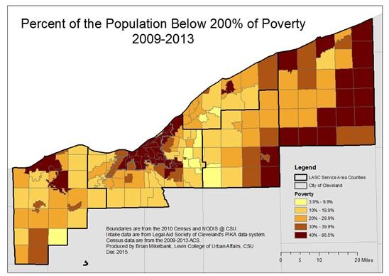 Percent of the population below 200% of poverty 2009-2013